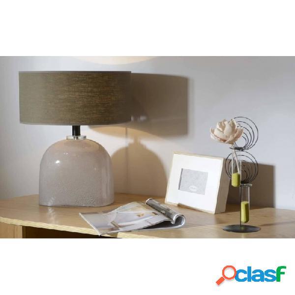 Lámpara De Mesa Beige Lino Y Vidrio Clasico 59 X 35 42