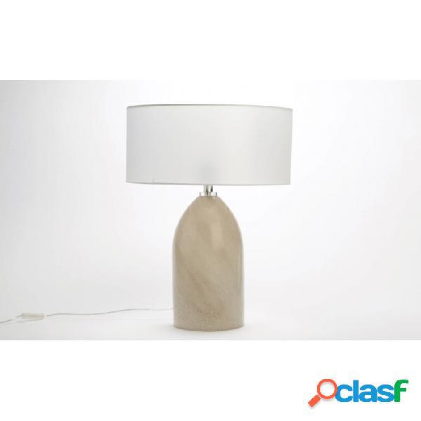Lámpara De Mesa Blanco Lino Y Vidrio Clasico 65 X 45 64,5