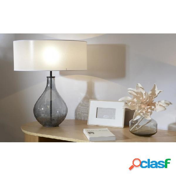 Lámpara De Mesa Gris Crudo Vidrio Y Lino Clasico 63 X 45 51