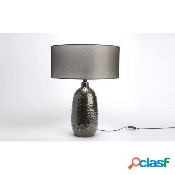 Lámpara De Mesa Gris Metal Y Lino Clasico 64 X 45 77