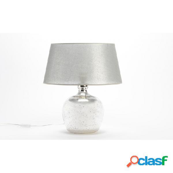 Lámpara De Mesa Gris Vidrio Clasico 40 X 58