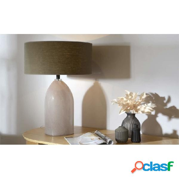 Lámpara De Mesa Marron Rosa Lino Y Vidrio Clasico 65 X 45