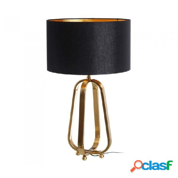 Lámpara De Mesa Negro Oro Metal Y Lino Moderno 18.00 X