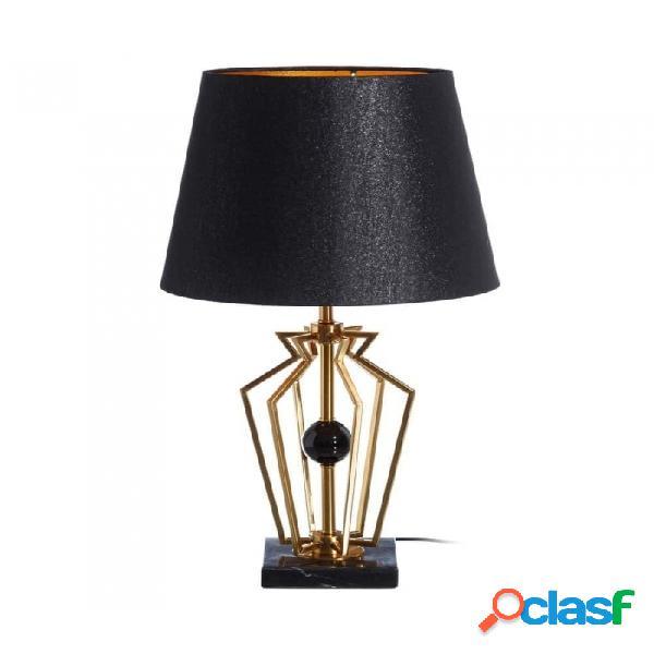 Lámpara De Mesa Negro Oro Metal Y Lino Moderno 21.00 X