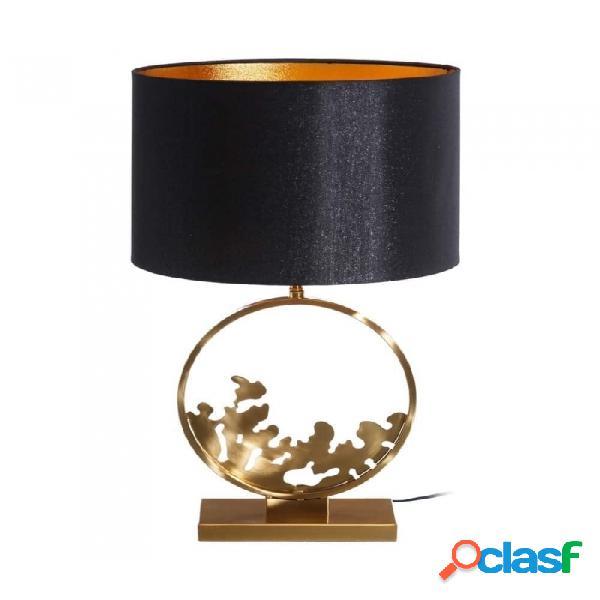 Lámpara De Mesa Negro Oro Metal Y Lino Moderno 30.00 X