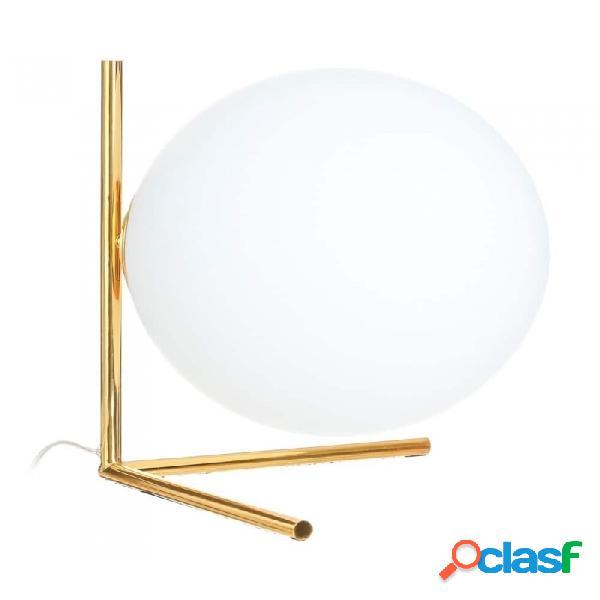 Lámpara De Mesa Oro Blanco Cristal Metal Y Moderno 35.00 X