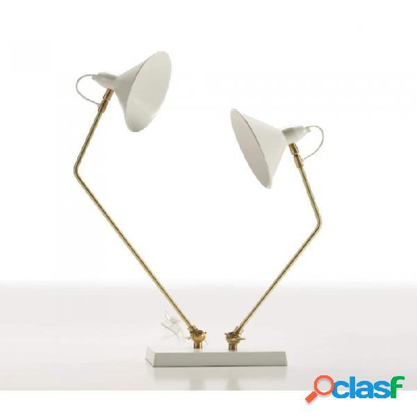 Lámpara De Sobremesa Blanco Bronce Metal Moderno 50x23x74