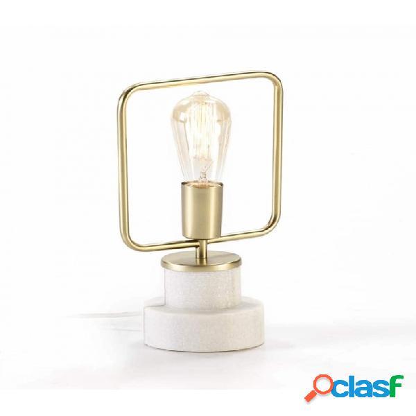 Lámpara De Sobremesa Blanco Dorado Marmol Y Metal 20x13x31