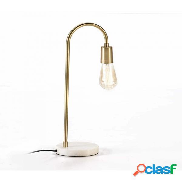 Lámpara De Sobremesa Blanco Dorado Marmol Y Metal 24x15x50