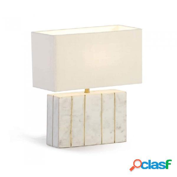 Lámpara De Sobremesa Blanco Dorado Marmol Y Metal 27x8x29
