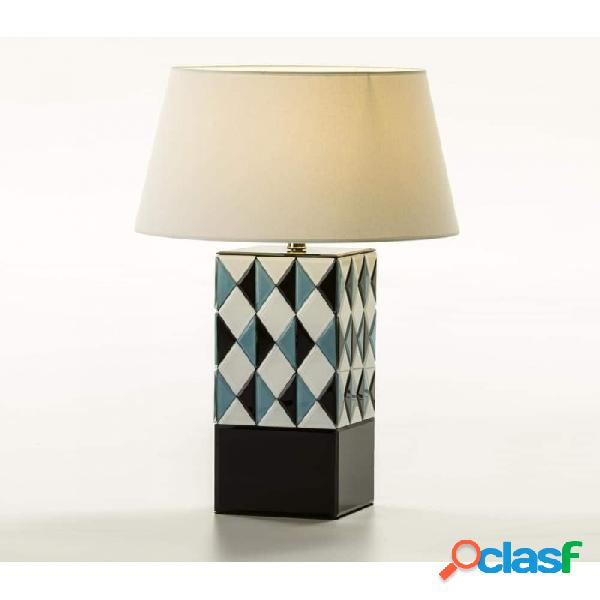 Lámpara De Sobremesa Cristal Blanco Azul Negro Moderno