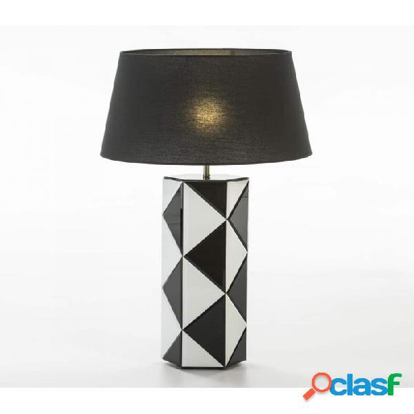 Lámpara De Sobremesa Cristal Blanco Negro Moderno 20x18x62