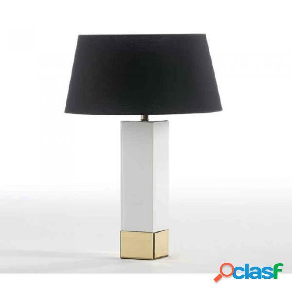 Lámpara De Sobremesa Cristal Blanco Oro Moderno 12x12x57