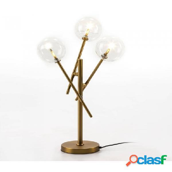 Lámpara De Sobremesa Cristal Dorado Y Metal 50x50x75