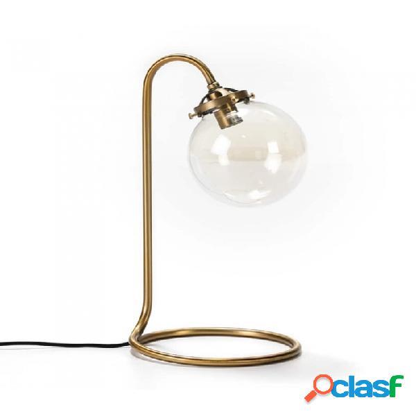 Lámpara De Sobremesa Cristal Dorado Y Metal Nordico