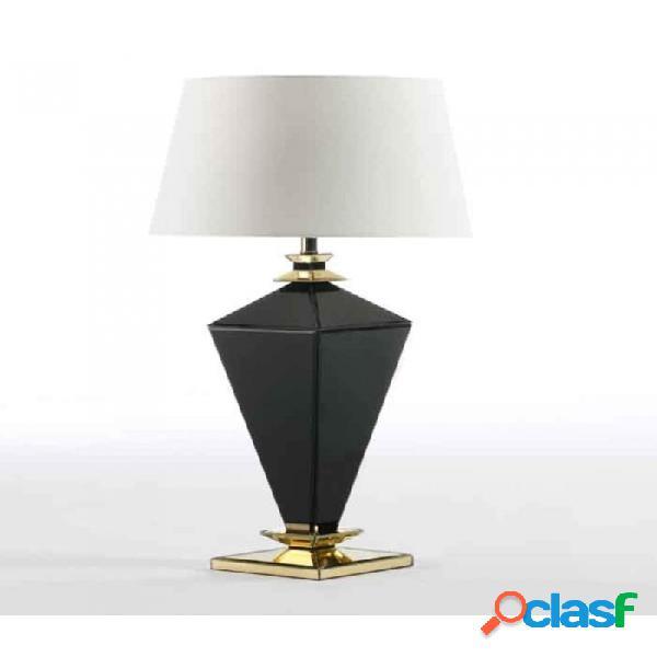 Lámpara De Sobremesa Cristal Negro Oro Moderno 23x23x62