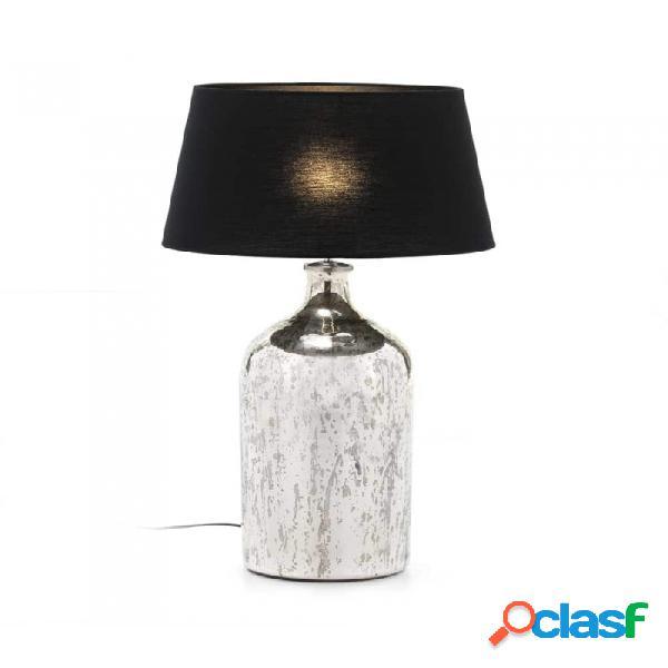 Lámpara De Sobremesa Cristal Plata Y 28x28x60