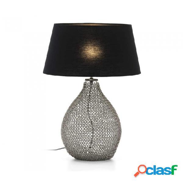 Lámpara De Sobremesa Cristal Plateado Y Metal 25x25x45