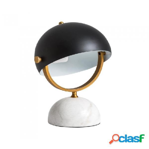 Lámpara De Sobremesa Negro Blanco Oro Hierro 28 X 25 38