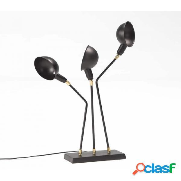 Lámpara De Sobremesa Negro Bronce Metal Moderno 26x20x76