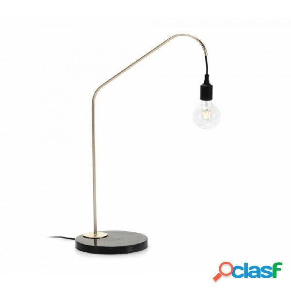 Lámpara De Sobremesa Negro Dorado Marmol Y Metal Moderno