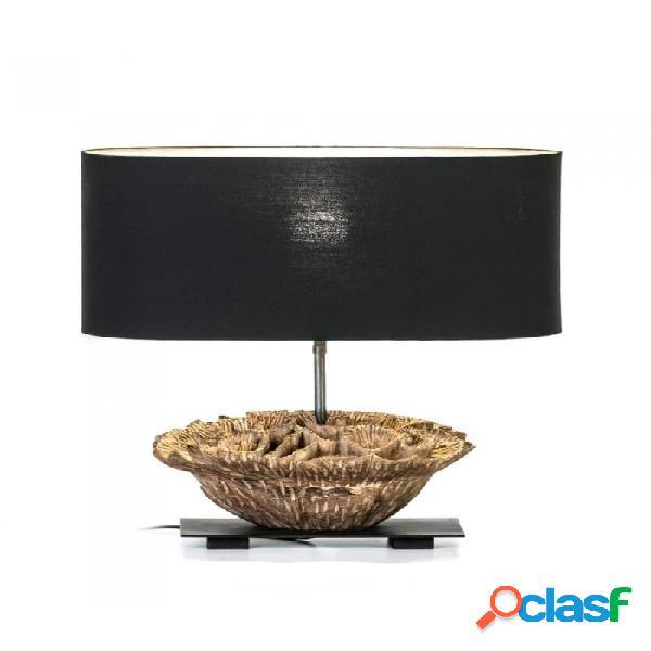 Lámpara De Sobremesa Negro Madera Y Metal Moderno 36x23x47