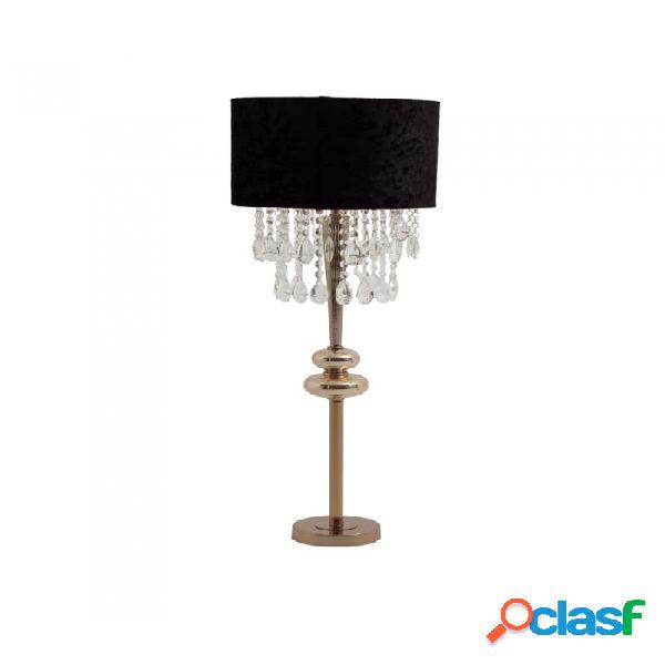 Lámpara De Sobremesa Oro Negro Hierro Y Vidrio 35 X 88
