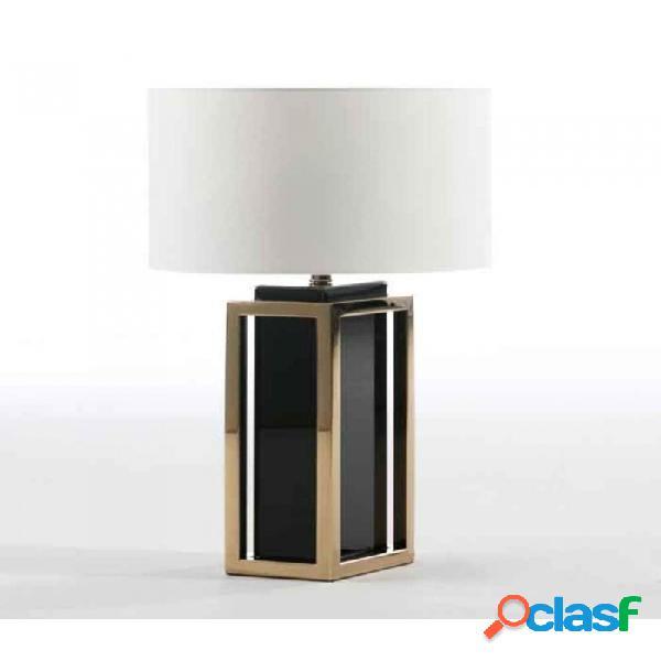 Lámpara De Sobremesa Oro Rosa Cristal Negro Acero Y Clasico