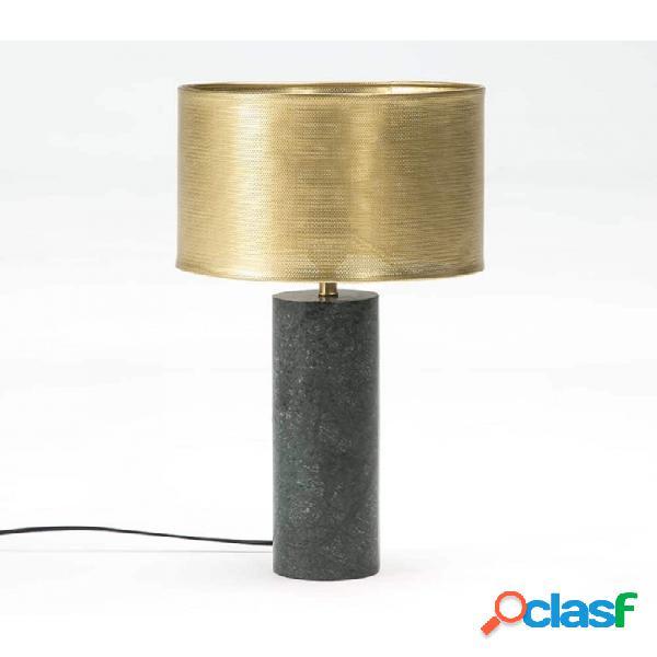 Lámpara De Sobremesa Verde Bronce Marmol Y Metal Moderno