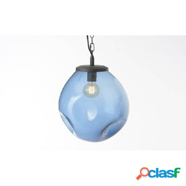 Lámpara De Techo Azul Vidrio Clasico 33 X 40