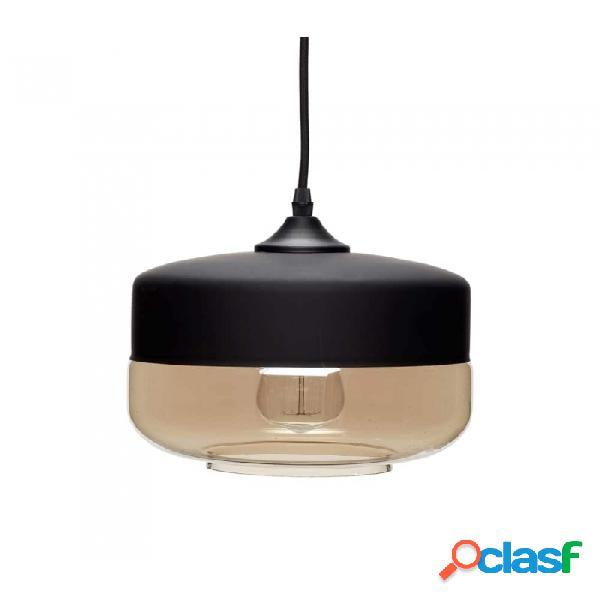Lámpara De Techo Negro Vidrio Y Metal Clasico Ø25xh21,