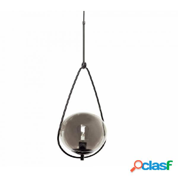 Lámpara De Techo Negro Vidrio Y Metal Clasico D30xh83,