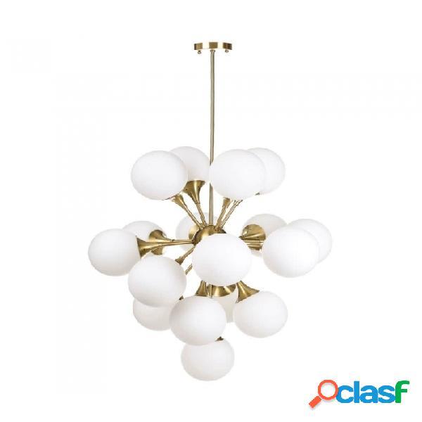 Lámpara De Techo Oro Blanco Cristal Metal Y Retro 80.00 X