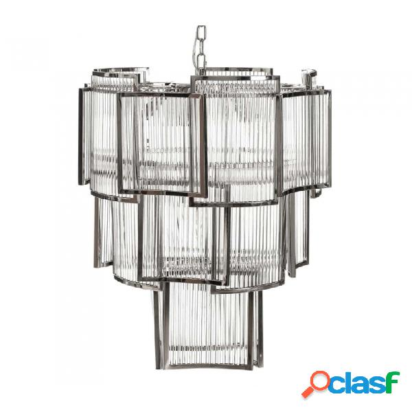Lámpara De Techo Plata Cristal Metal Y Clasico 54.00 X