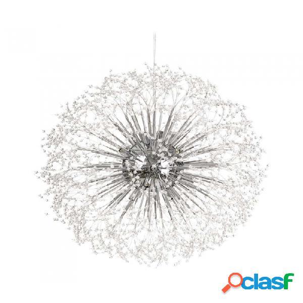 Lámpara De Techo Plata Cristal Y Metal Moderno 77.00 X