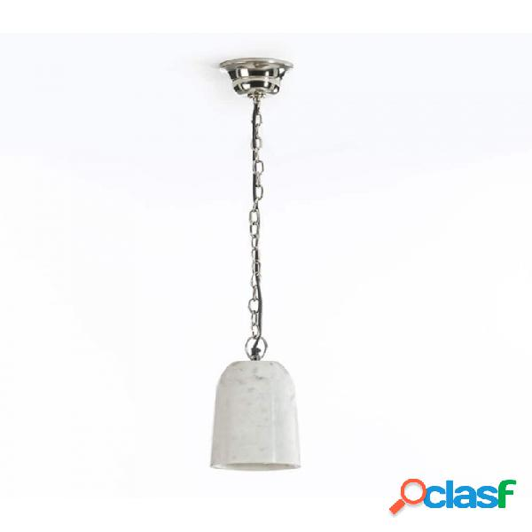Lámpara Techo Blanco Marmol Y Metal Moderno 15x20x120