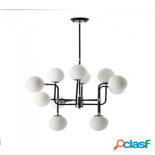 Lámpara Techo Negro Metal Y Cristal Moderno 70x90x100