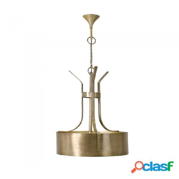 Lámpara Techo Oro Laton Y Vidrio Clasico 62 X 90