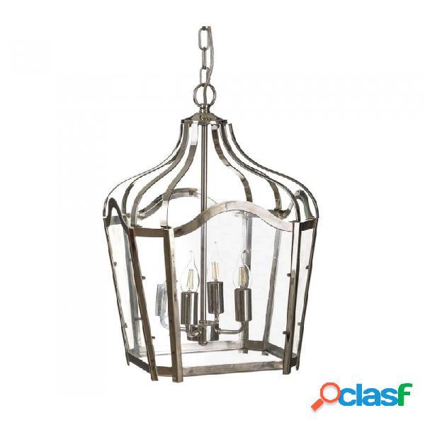 Lámpara Techo Plata Cristal Metal Provenzal 40 X 52