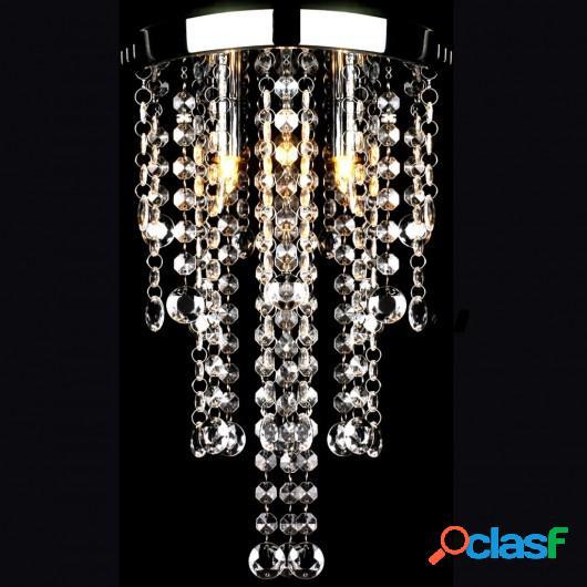 Lámpara blanca colgante de metal con adornos de cristal