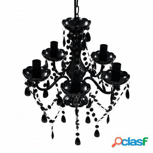 Lámpara de araña de cristal 5 bombillas negra