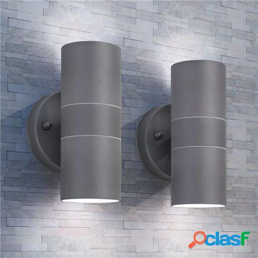 Lámpara de exterior 2 uds acero ascendente/descendente