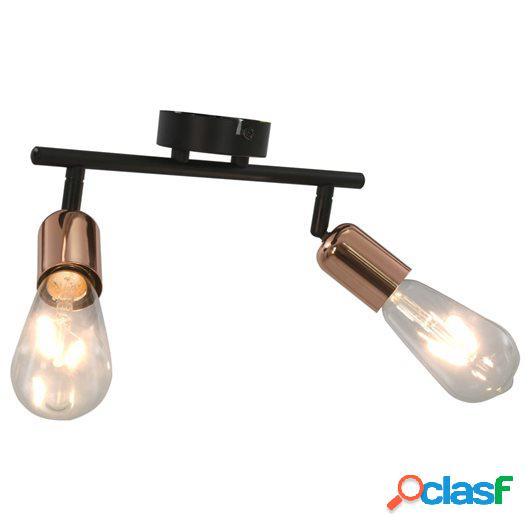 Lámpara de focos con 2 luces negro y cobre 2 W E27