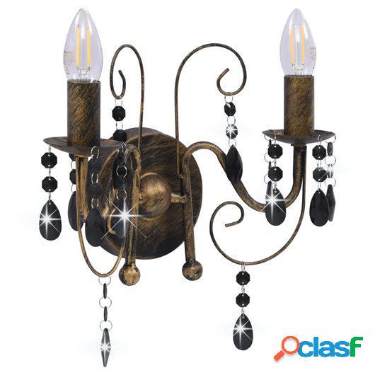 Lámpara de pared con cuentas negro antiguo con 2 bombillas
