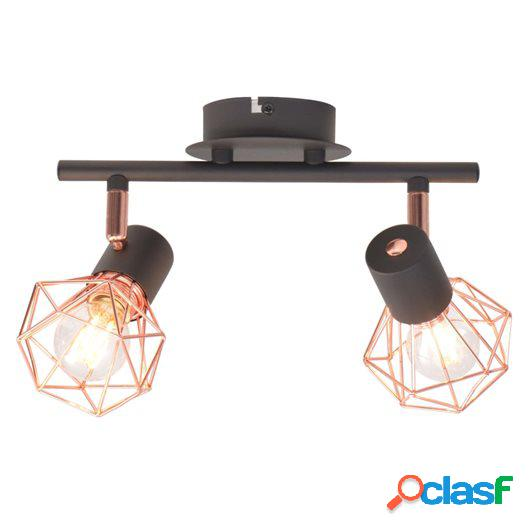 Lámpara de techo con 2 focos E14 negra y cobre
