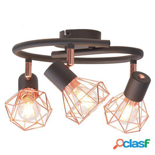 Lámpara de techo con 3 focos E14 negra y cobre
