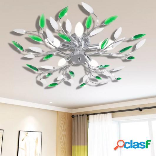 Lámpara de techo con brazos de cristal forma de hoja 5