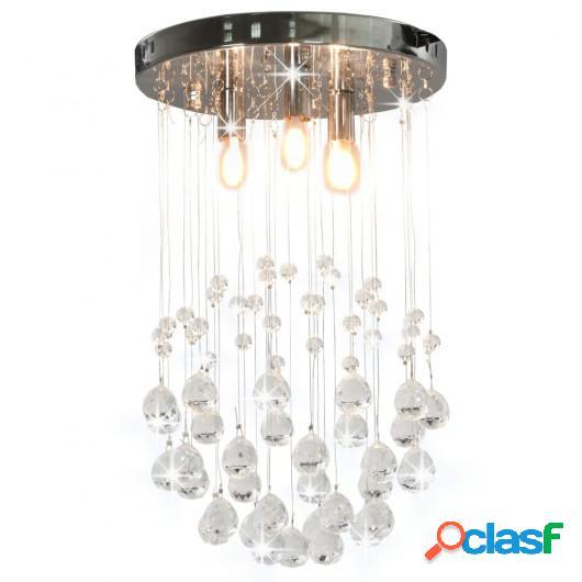 Lámpara de techo con cristales plateado esférica 3