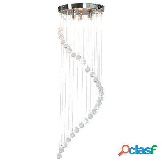 Lámpara de techo con cuentas de cristal plateado en espiral