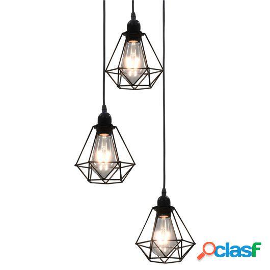 Lámpara de techo con diseño de rombos negra 3 bombillas